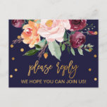 """Autumn Floral Song Request RSVP Invitation Postcard<br><div class=""""desc"""">This autumn floral song request RSVP postcard is perfect for a fall wedding. The design features a stunning bouquet of blush, orange peach, and marsala burgundy flowers with faux gold foil typography and confetti. Build your wedding guest list and your dance floor song list all at once! This wedding response...</div>"""