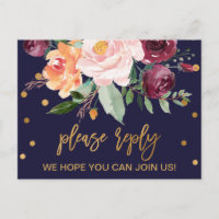 Autumn Floral Song Request RSVP Invitation Postcard