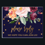 "Autumn Floral Song Request RSVP Postcard<br><div class=""desc"">This autumn floral song request RSVP postcard is perfect for a fall wedding. The design features a stunning bouquet of blush, orange peach, and marsala burgundy flowers with faux gold foil typography and confetti. Build your wedding guest list and your dance floor song list all at once! This wedding response...</div>"
