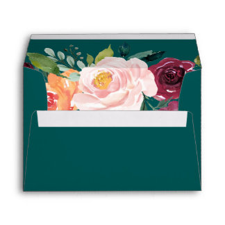Autumn Floral Teal Addressed Wedding Invitation Envelope