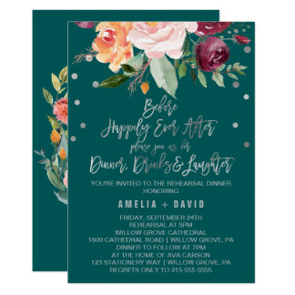 Autumn Floral | Teal Rehearsal Dinner Card