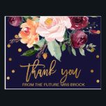"""Autumn Floral Thank You Postcard<br><div class=""""desc"""">This autumn floral thank you postcard is perfect for a fall wedding. The design features a stunning bouquet of blush, orange peach, and marsala burgundy flowers with faux gold foil typography and confetti. Personalize the front of the card with a short message. Personalize the back with a longer thank you...</div>"""