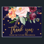 "Autumn Floral Thank You Postcard<br><div class=""desc"">This autumn floral thank you postcard is perfect for a fall wedding. The design features a stunning bouquet of blush, orange peach, and marsala burgundy flowers with faux gold foil typography and confetti. Personalize the front of the card with a short message. Personalize the back with a longer thank you...</div>"