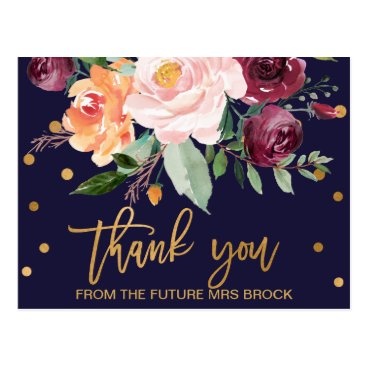 Toddler & Baby themed Autumn Floral Thank You Postcard