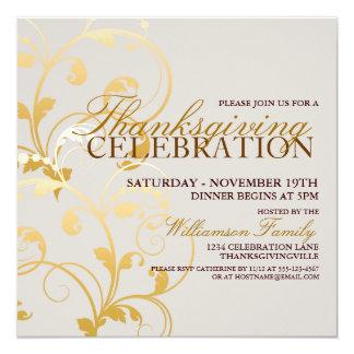 "Autumn Floral Thanksgiving Dinner Invitation 5.25"" Square Invitation Card"