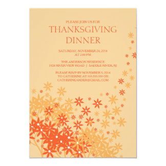 Autumn Floral Thanksgiving Dinner Party Invitation