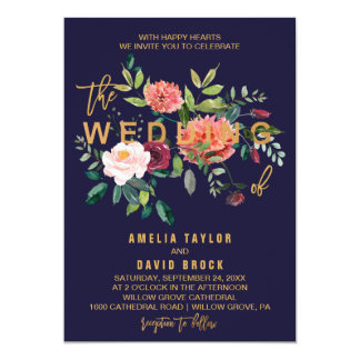 Autumn Floral Typography Wedding Card