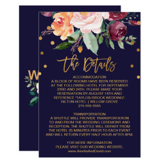Autumn Floral Wedding Details Card