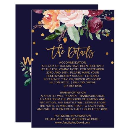 Autumn Floral Wedding Details Card