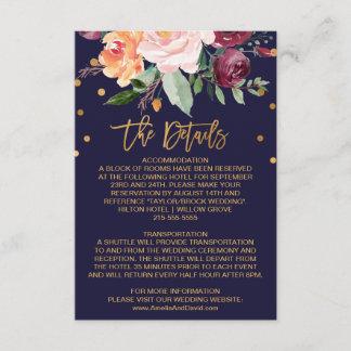 Autumn Floral Wedding Details Enclosure Card