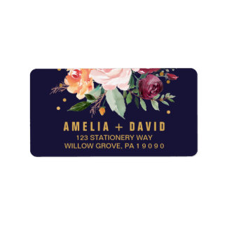 Autumn Floral Wedding Label