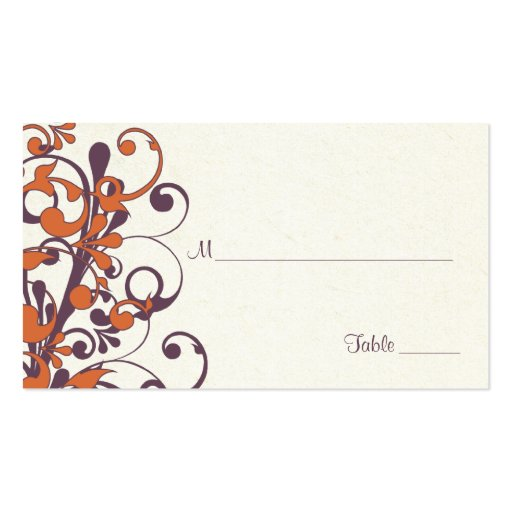 Autumn Floral Wedding Place or Escort Cards Business Cards