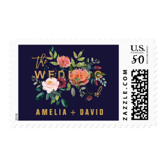 Autumn Floral Wedding Postage