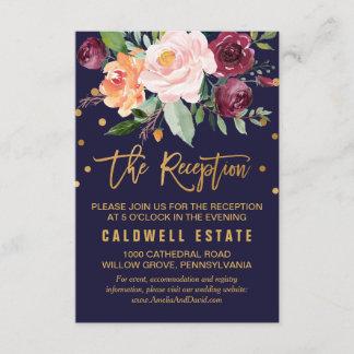 Autumn Floral Wedding Reception Enclosure Card