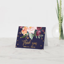 Autumn Floral Wedding Thank You Card