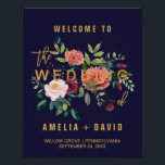 "Autumn Floral Wedding Welcome Poster<br><div class=""desc"">This autumn floral wedding welcome poster is perfect for a fall wedding. The design features a stunning bouquet of blush, orange peach, and marsala burgundy flowers with faux gold foil typography. Customize the poster with the name of the bride and groom, and the date and location of the wedding. Please...</div>"