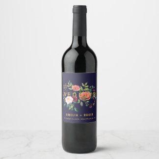 Autumn Floral Wedding Wine Labels