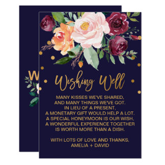 Autumn Floral Wedding Wishing Well Card