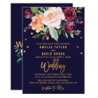 Autumn Floral with Typography Backing Wedding Card