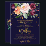 """Autumn Floral with Typography Backing Wedding Card<br><div class=""""desc"""">This autumn floral with typography backing wedding invitation card is perfect for a fall wedding. The design features a stunning bouquet of blush, orange peach, and marsala burgundy flowers with faux gold foil typography and confetti. The backing features a coordinating flower arrangement with gorgeous wedding typography. Please Note: This design...</div>"""