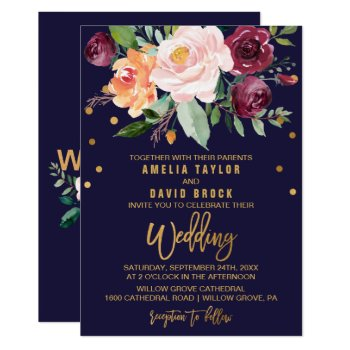 Autumn Floral With Typography Backing Wedding Card by FreshAndYummy at Zazzle