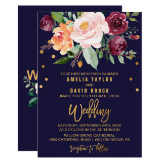 Autumn Floral with Typography Backing Wedding Invitation