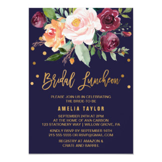 Autumn Floral with Wreath Backing Bridal Luncheon Card
