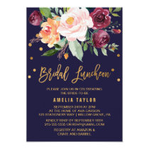 Autumn Floral with Wreath Backing Bridal Luncheon Invitation