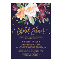 Autumn Floral with Wreath Backing Bridal Shower Card