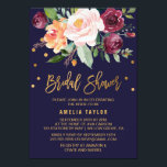 """Autumn Floral with Wreath Backing Bridal Shower Invitation<br><div class=""""desc"""">This autumn floral with wreath backing bridal shower invitation card is perfect for a fall bridal shower. The design features a stunning bouquet of blush, orange peach, and marsala burgundy flowers with faux gold foil typography and confetti. The backing features a gorgeous flower wreath which can be personalized with the...</div>"""