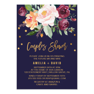 Autumn Floral with Wreath Backing Couples Shower Card