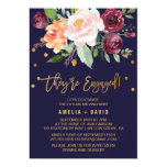 Autumn Floral With Wreath Backing Engagement Party Card at Zazzle