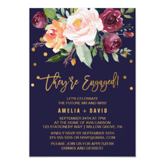 Autumn Floral with Wreath Backing Engagement Party Invitation