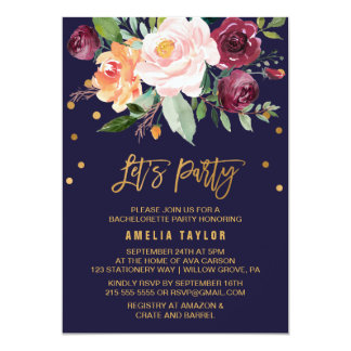 Autumn Floral with Wreath Backing Let's Party Card