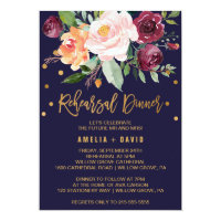 Autumn Floral with Wreath Backing Rehearsal Dinner Invitation