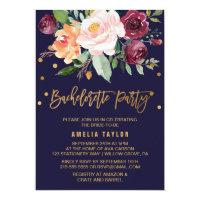 Autumn Floral | Wreath Backing Bachelorette Party Invitation