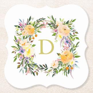 Autumn Floral Wreath Monogram Wedding Paper Coaster