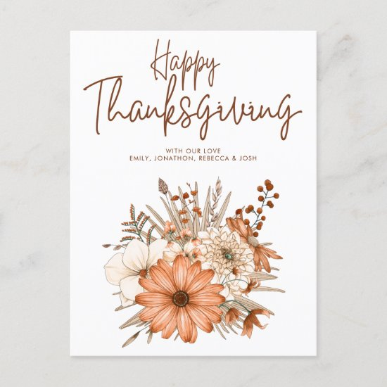 Autumn Florals Foliage Happy Thanksgiving Names Holiday Postcard