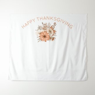 Autumn Florals Virtual Thanksgiving Party Backdrop
