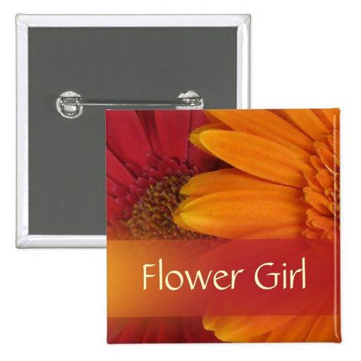 Autumn Flower Girl Button / Pin