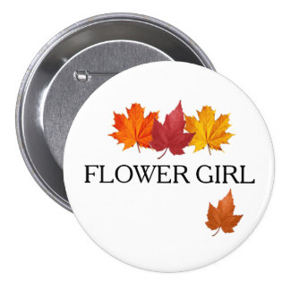 Autumn Flower Girl Button Pin - Fall Leaves