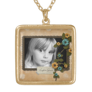 Autumn Flower Photo Gold Plated Necklace