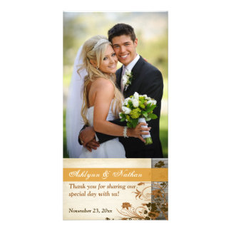 Autumn Flowers FAUX Wood Wedding Photo Card 2