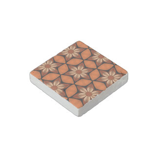 Autumn flowers geometric pattern warm colors stone magnet