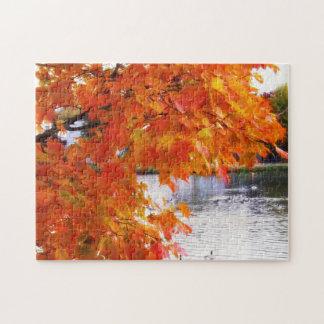 Autumn Foliage by Pond Jigsaw Puzzle