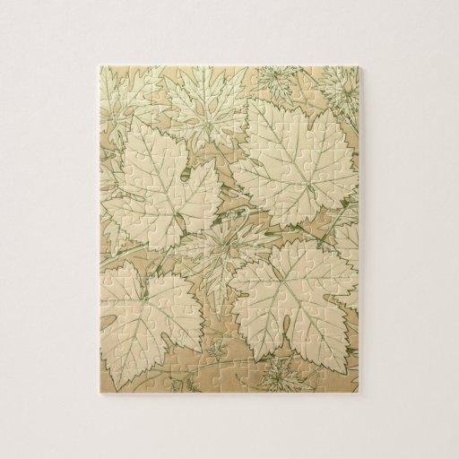 Autumn Foliage Fall Leaves in Tan Jigsaw Puzzle