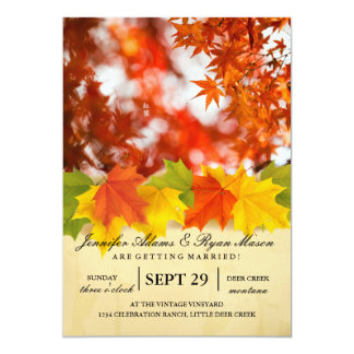 Autumn foliage/fall wedding card