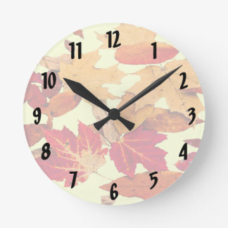 Autumn Foliage in Red Orange Brown Yellow Clock