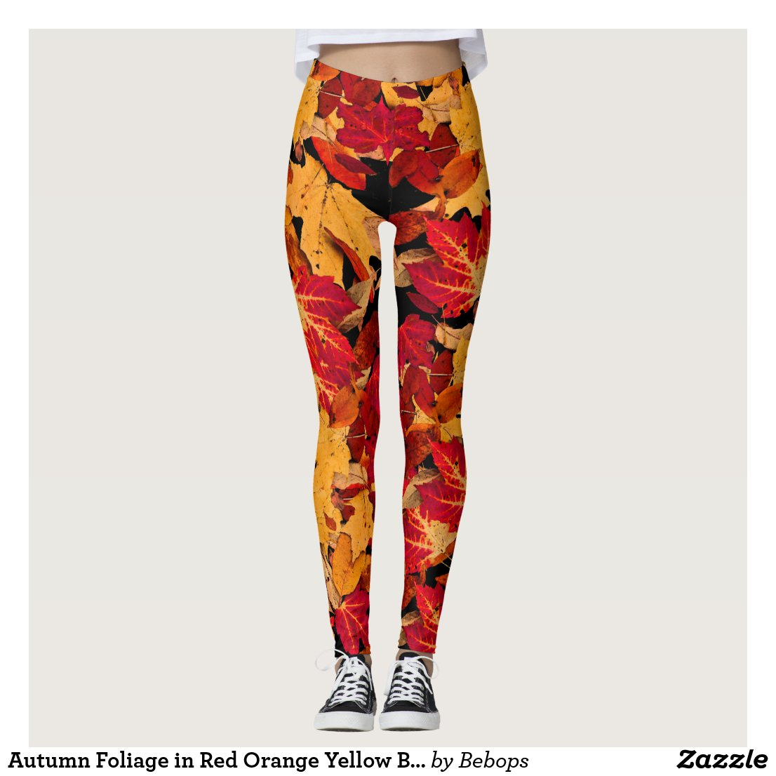 Autumn Foliage in Red Orange Yellow Brown Leggings