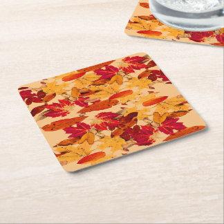 Autumn Foliage in Red Orange Yellow Brown Square Paper Coaster